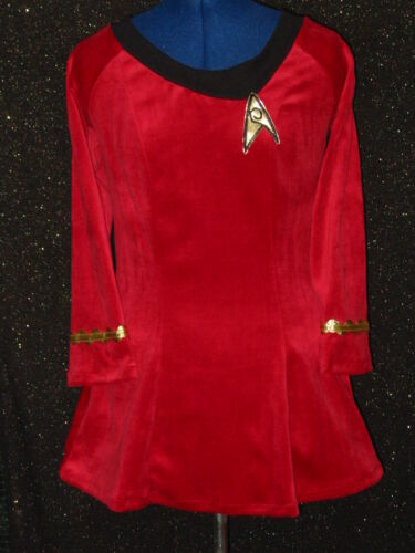 CUSTOM-MADE Red Five Star TREK CLOTHES Uniform COSTUME Dress