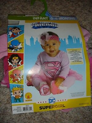 NEW DC Super Friends Supergirl Halloween Costume infant 0-6 months Rubies 887730