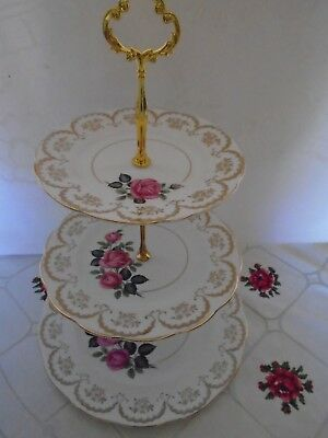VINTAGE ROYAL IMPERIAL PINK ROSES TEASET THREE TIERED CAKE STAND FIVE AVAILABLE