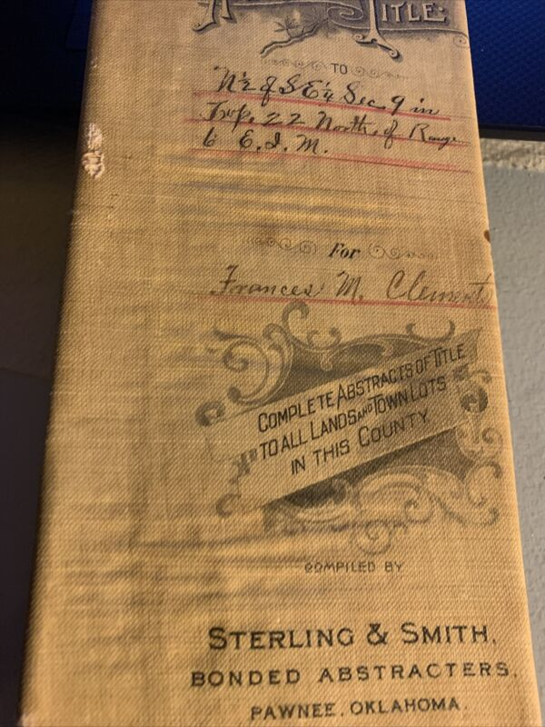 Pawnee County Oklahoma Bunnel &Eno investment 1901-17 Abstract info Clements