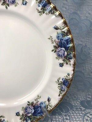 ROYAL ALBERT Moonlight Rose ENGLISH BONE CHINA 1987 Blue Rose Gold Rim (18-1490) - Imperial Blue Rim