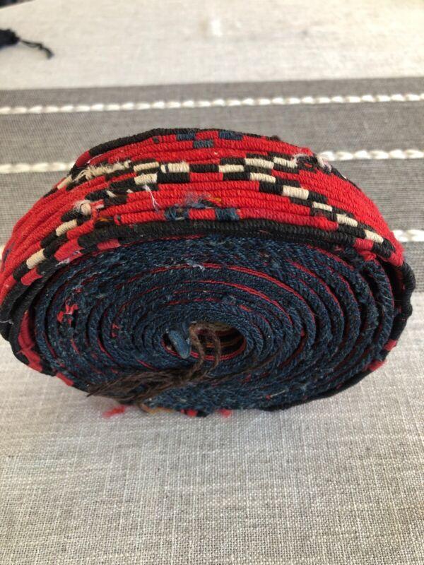 19C. ANTIQUE Guatamala FOLK ART COSTUME HAND WOVEN WOOLLEN BELT 12ft