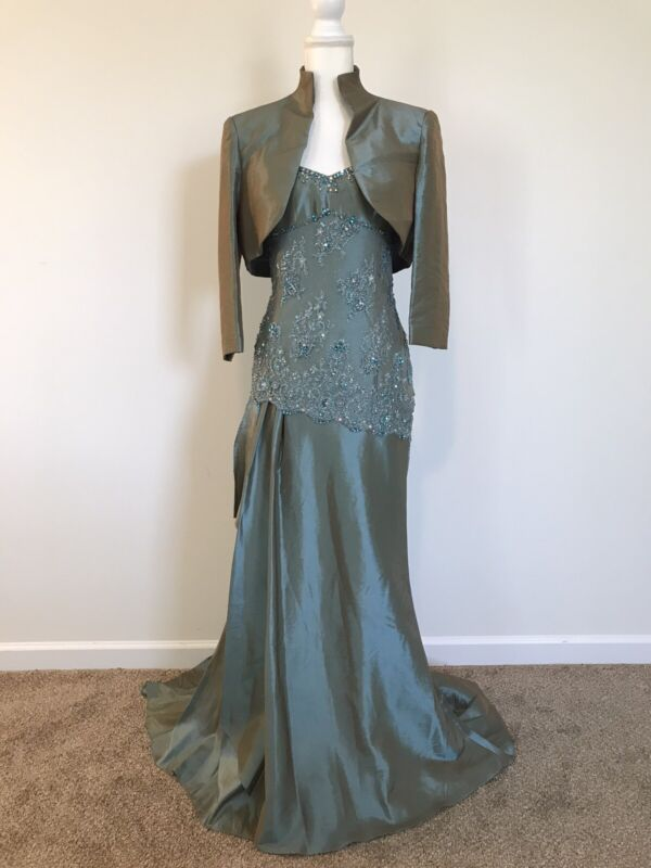 Rina Di Montella Teal Beaded Gown And Jacket Size 12 NWT