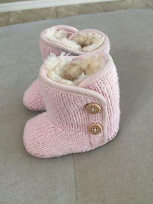 Ugg Booties Baby (UGG Australia Baby First Booties Pink Wool Size 0-1  S/n 1005197i Warm)