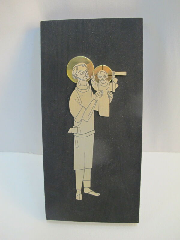 EMAUS Talleres MONASTICOS Mexico Silver & Brass SAINT ANTHONY & Child Sculpture