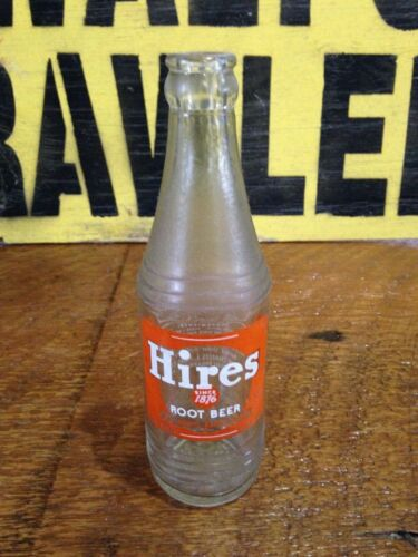 "Vintage 50s 60s Hires Root Beer soda pop bottle glass clear ""The Oldtime Flavor"""