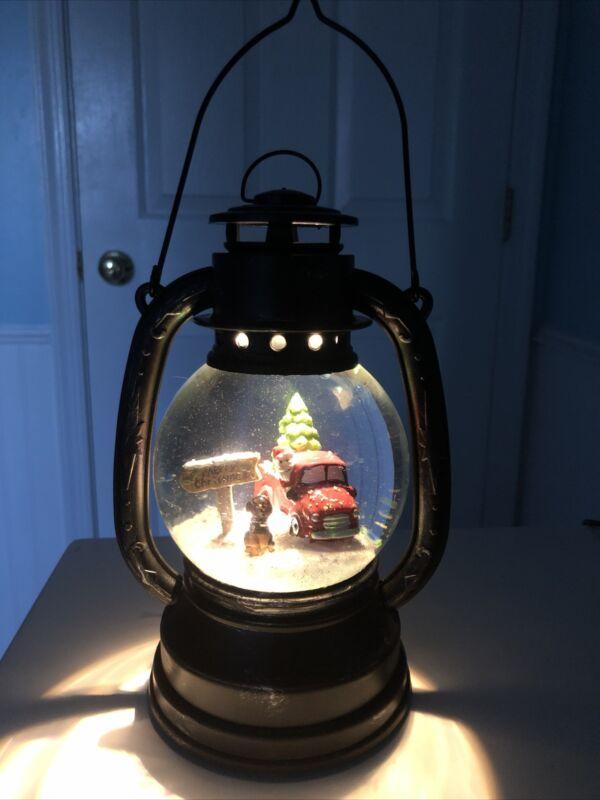 Lighted Christmas Snow Globe Swirling Glitter Water Santa Red Truck Decor