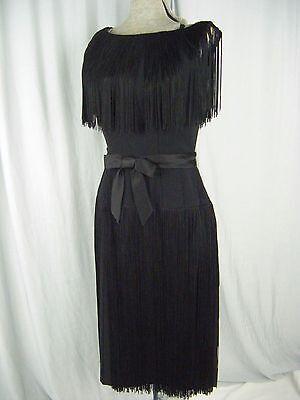Flapper-stil Kleider (Neusteters Vtg 50-60s Schwarz Flapper Stil Fransen Kleid & Bow-Bust 34/XS)