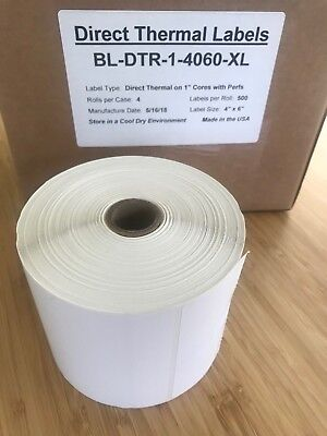 1 Roll 4x6 Direct Thermal Labels Roll Of 500. Used With Eltron Zebra 2844 450 Lp