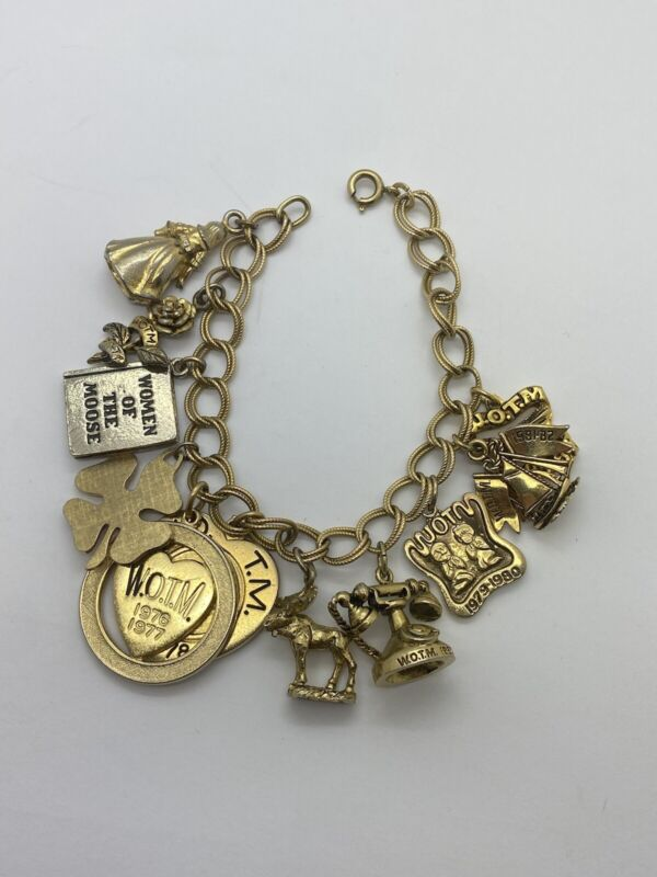 Vintage 1/20 12K Gold Filled Women Of The Moose WOTM Charm Bracelet 7""