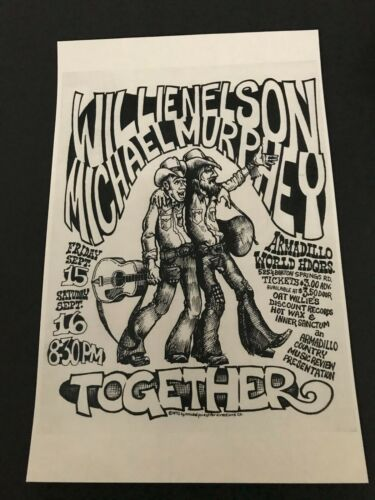 """""""72 WILLIE NELSON & MICHAEL MURPHEY Together Armadillo World Headquarters poster"""