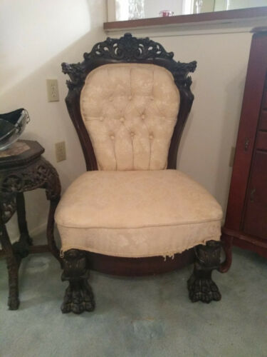 Antique Vintage Rare Victorian Hand Carved Lion Eagle Throne