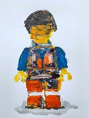 Lego Movie Emmet Minifigure Abstract Realism Palette Knife Art Acrylic (Knife Painting Art)