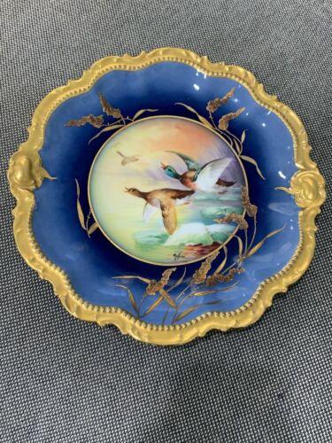 Antique Coronet Limoges France Porcelain Signed MuPlier Cobalt Gold Game Plate 3