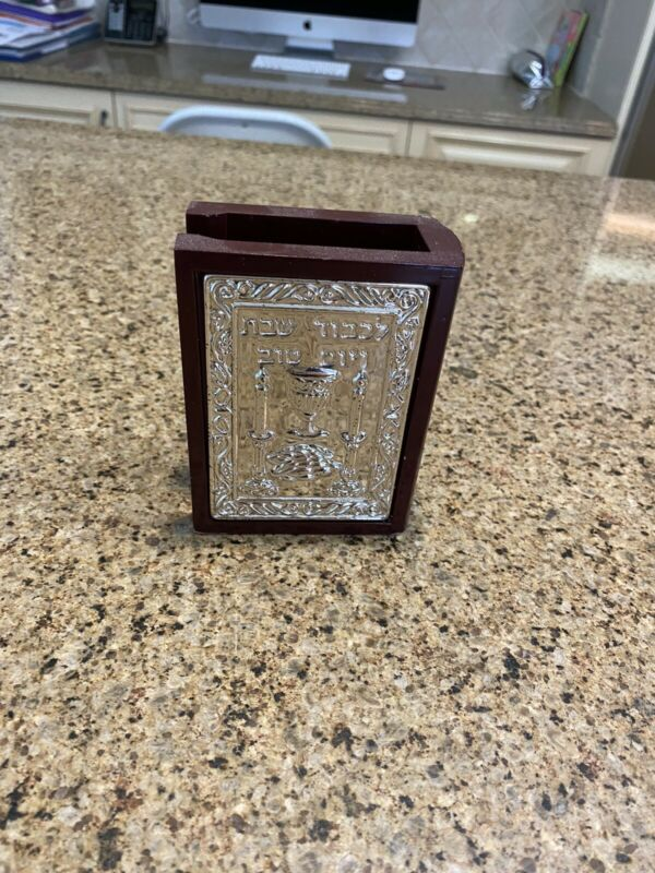 Jewish Collectables Matchbox Candles Lighting Bencher Holder Steel Wood