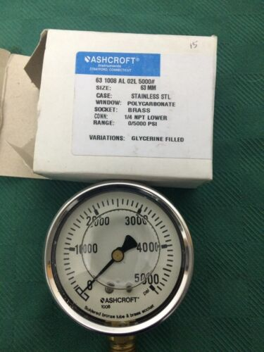 Ashcroft - Type #63-1008-AL-02L-5000#, Pressure Gauge, - Stainless - NEW
