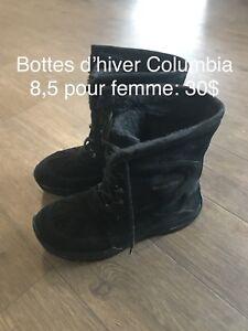 Bottes d'hiver Columbia pour femme taille 8,5