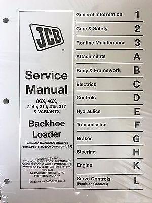 Jcb Service 3cx 4cx 214e 214 215 217 Variants Manual Repair Fast Ship Priority