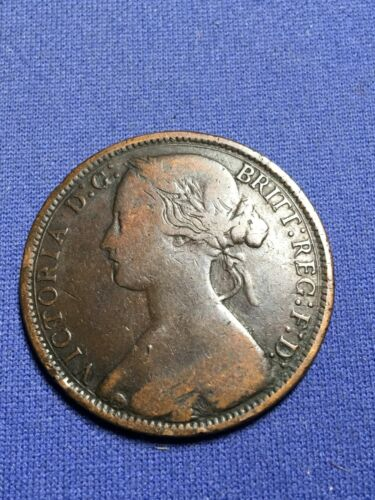 Great Britain England 1874-H Penny Young Queen Victoria Well Preserved RARE Date