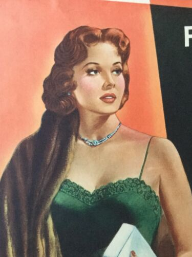 """Original Vintage Film Noir Movie Poster """"Slightly Scarlet"""" (1956)"""