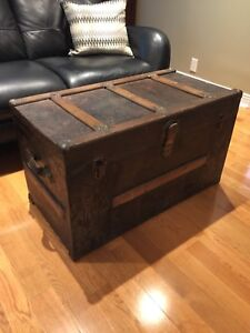 Antique Steamer Trunk- Flat Top- perfect Coffee Table