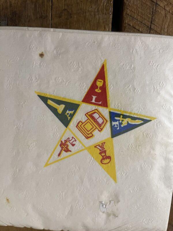 Vintage UNUSED Order Of The Eastern Star NAPKINS Masonic Temple NOS Catholic OLD