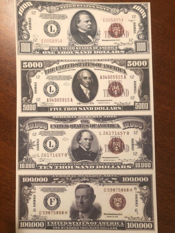 Copy 1934 Hawaii WWII $1,000-$100,000 Uncut Reproduction Currency Money Sheet