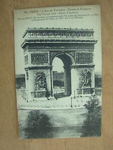VINTAGE-POSTCARD-FRANCE-PARIS-LARC-DE-TRIOMPHE-DETAILS-OF-SCULPTURE