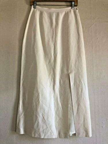 Vintage Tao Linen Silk Summer Maxi Skirt With Slit Women