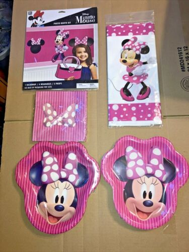 Minnie Mouse Birthday Party Supplies 16 Guests Plates Napkins Table Cover + New!