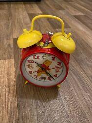 Vintage Winnie The Pooh Old School Wind-up Twin Bell Alarm Clock Sunbeam