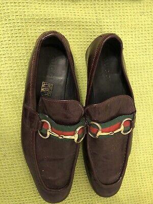 Gucci Mens Shoes Brown Gold Horsebit Loafers UK 7.5 EU 40 1/2 Vintage
