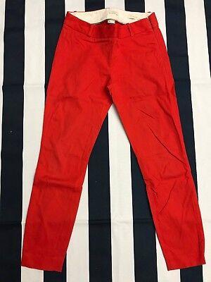 J.Crew Women Orange Minnie Pants In Stretch Twill Side Zipper Size 0 Style 18850