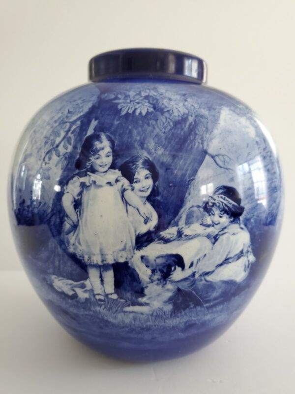 Royal Doulton Blue Series Blue & White Vase w/ Woman, Children and Dog