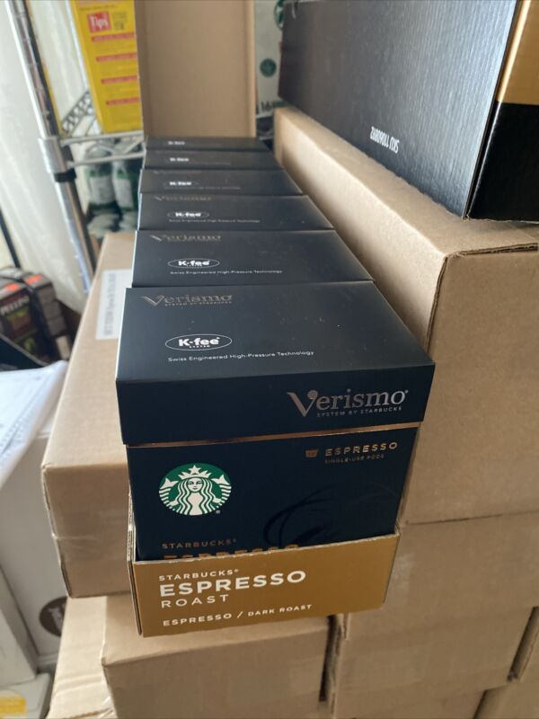 Starbucks Verismo Espresso 72 Pods Dark Roast EXP: MAY 22 2021 6 Boxes