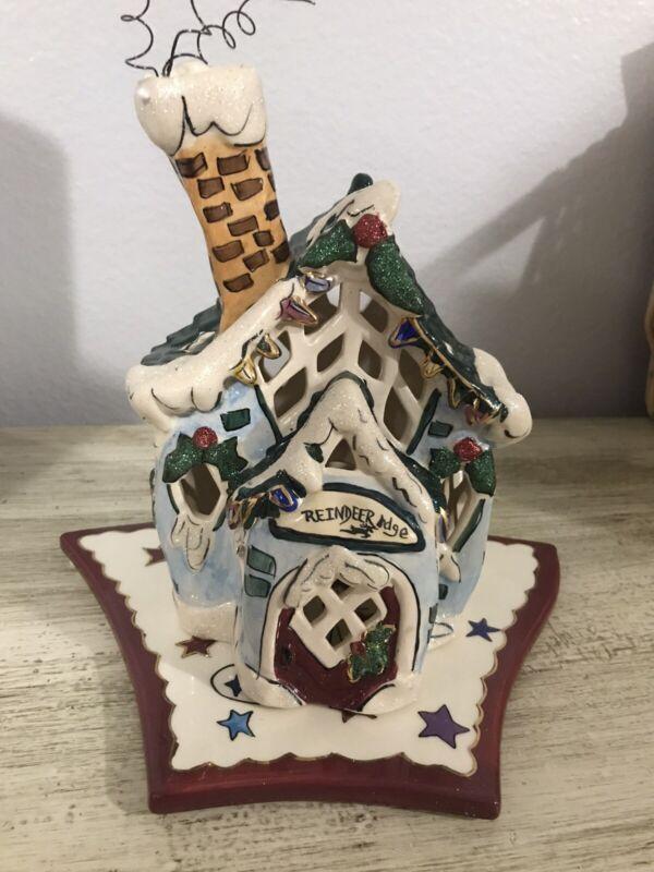 Blue Sky Clayworks Reindeer Lodge Tealight Holder House
