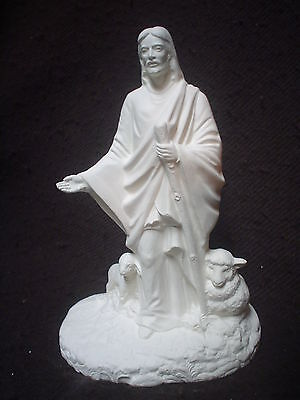 E027 - Ceramic Bisque Jesus the Good Shepherd Figurine - Ready to Paint