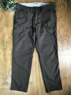Mens Abercrombie & Fitch Super Slim Chino Pants Sz 32x30 Khaki Brown SHORT