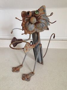 Hand Made Out Of Old Junk Folk Art Cat Lawn or Garden Ornament