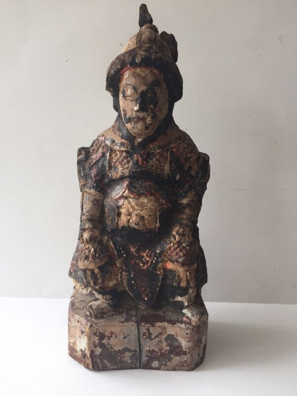Antique Chinese Polychrome Wood Carved China Asian Buddha or Warrior