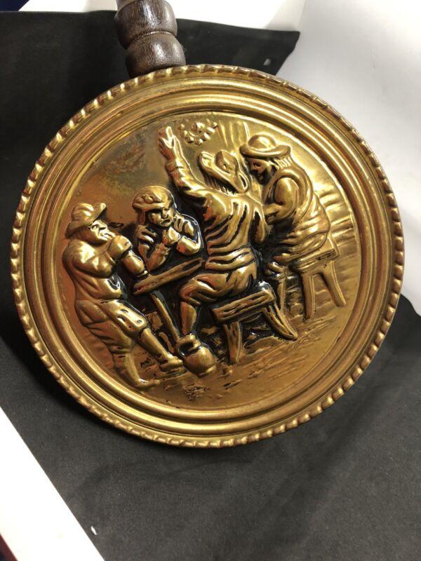 "Vintage  British Brass Decorative Bed Warmer ~ Made in England 30""Wooden Handle"