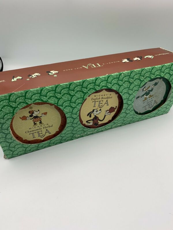 RARE Vintage Disney Mickey'a Tea Tin With 6 ; 8 Mickey Tea Bags Tins