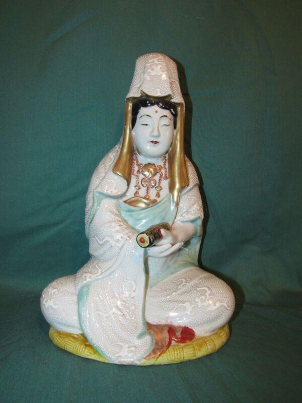 REDUCED !! Fine Antique Japanese Kutani Porcelain Seated Female Figure