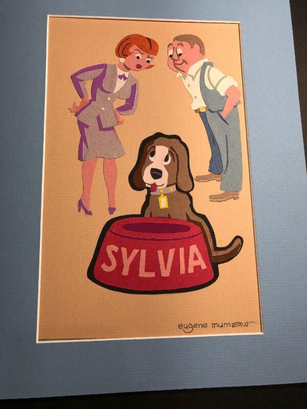 Rare Original Art Eugene Mumaw Sylvia Dog Pretty Lady & Man