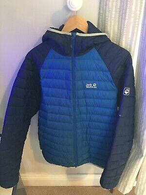 Mens Large Blue Jack Wolfskin Jacket, Waterproof With Hood, Down Filled