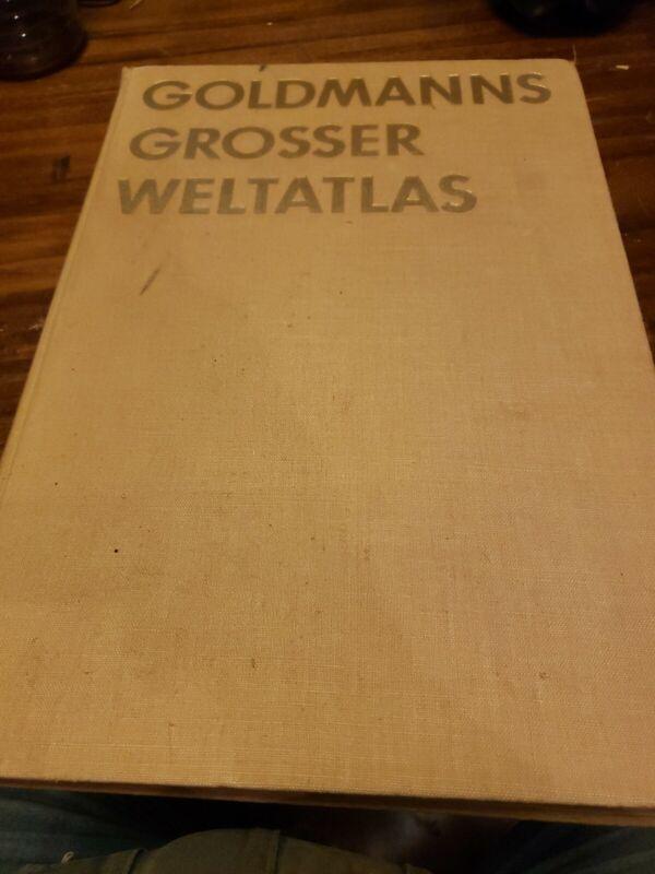Goldmanns Grosser Weltatlas  Large Folio 1955 -  Vintage World Atlas