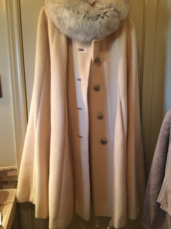 Vintage Wool Cape with Fur Collar, Relisted