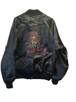 Vintage Coca Cola Empress Casino Joliet Black Satin Jacket Size Large