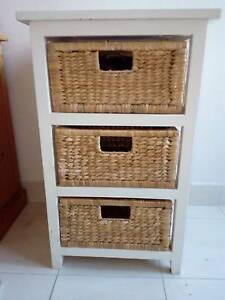 For sale, utility dresser, wicker and white wood, $30.00 Randwick Eastern Suburbs Preview