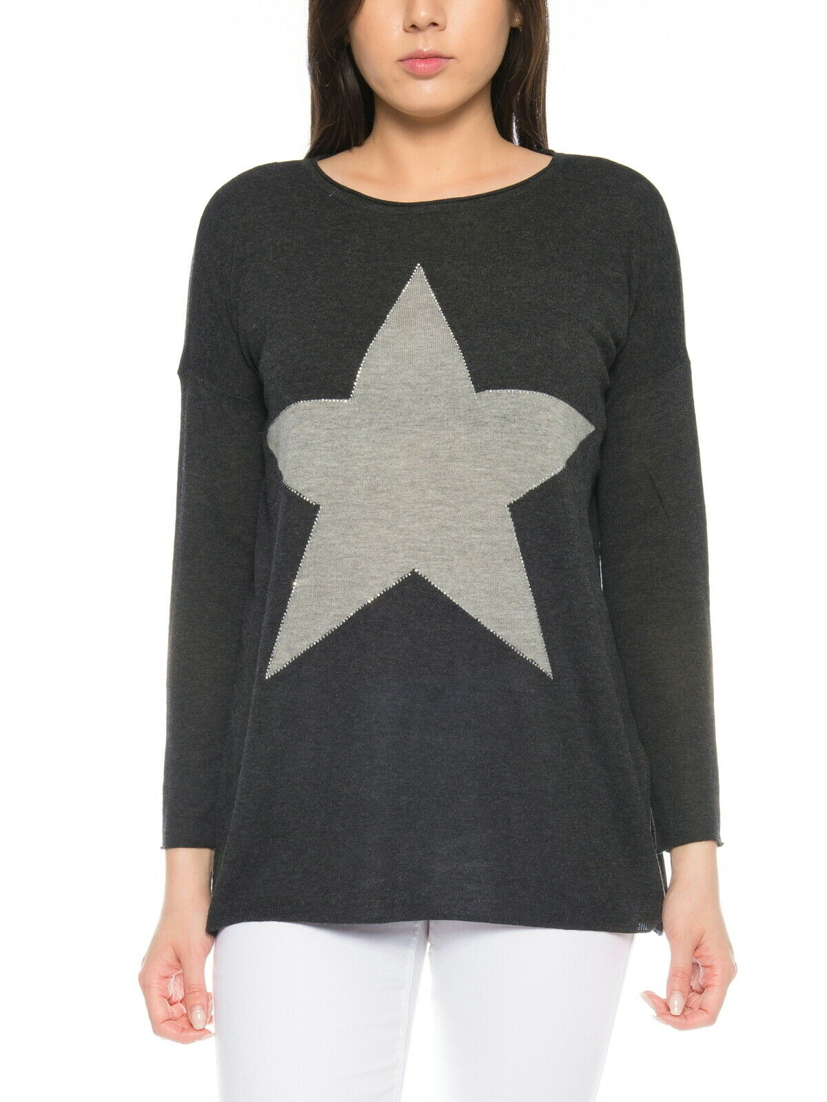 Only Damen Pullover XS S M L XL Oversize Stern Motiv Shirt long lang NEU